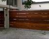 Horizontal slatted wide plank meranti sliding & pedestian gates