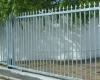 Steel sliding gate with fixed fence panel & motor - Square based fleur de lis spikes