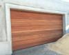 Double meranti sectional door - Horizontal slatted