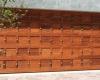 Double meranti sectional studded door - golden brown oil